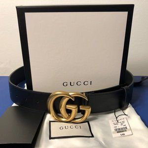 """1.5"""" Marmont Brass GG Gucci Black Leather"""